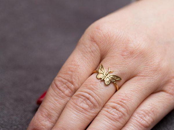 Χειροποίητο Ασημένιο Επίχρυσο Δαχτυλίδι Πεταλούδα