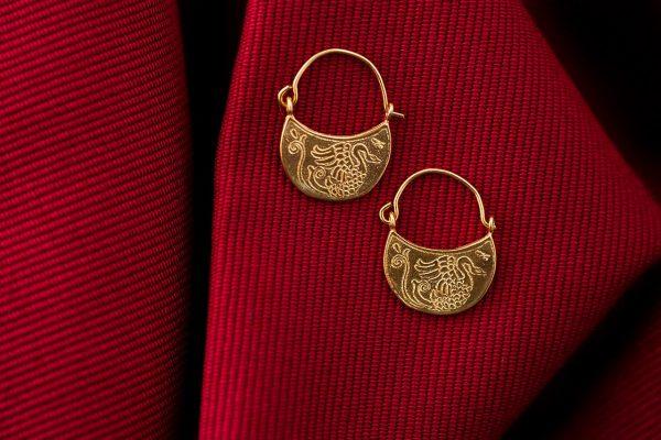Μικροί Χειροποίητοι Ασημένιοι Επίχρυσοι Βυζαντινοί Κρίκοι με Κύκνους