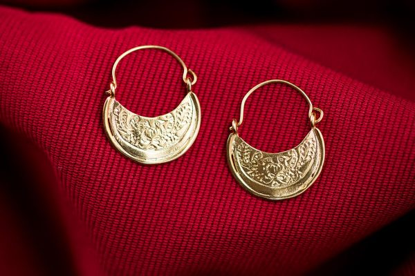 Hand Made Sterling Silver Gold Plated Two Birds Small Byzantine Hoops