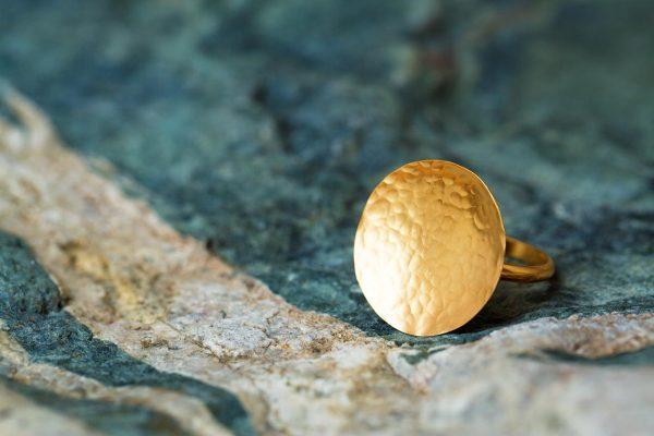 Χειροποίητο Ασημένιο Επίχρυσο Σφυρήλατο Δαχτυλίδι Δίσκος
