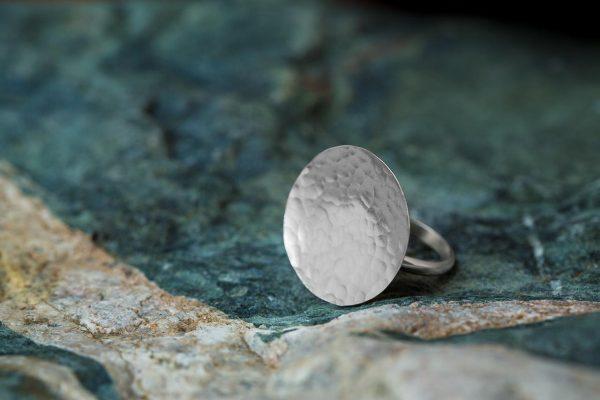 Χειροποίητο Ασημένιο Σφυρήλατο Δαχτυλίδι Δίσκος