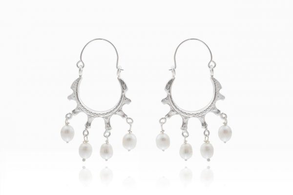 Hand Made Sterling Silver Byzantine Hoops with Pearls
