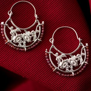 Hand Made Sterling Silver Flower Byzantine Hoops