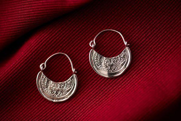 Ασημένιοι Χειροποίητοι Βυζαντινοί Κρίκοι με Δύο Πουλάκια