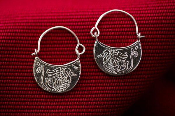 Μικροί Ασημένιοι Χειροποίητοι Βυζαντινοί Κρίκοι με Κύκνους