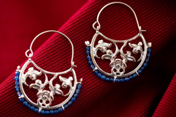 Hand Made Sterling Silver Floral Byzantine Hoops