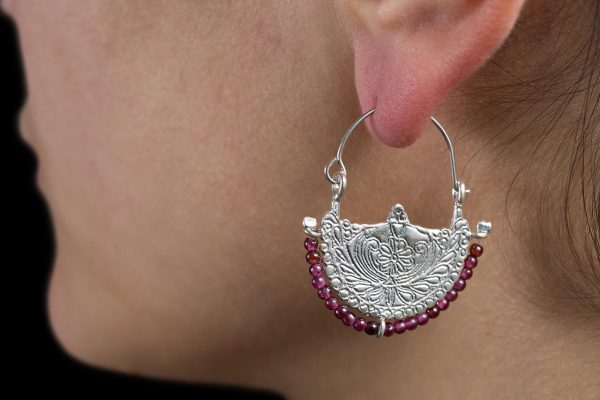 Hand Made Sterling Silver Solid Byzantine Floral Hoops