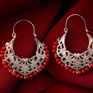 Hand Made Sterling Silver Big Floral Byzantine Hoops